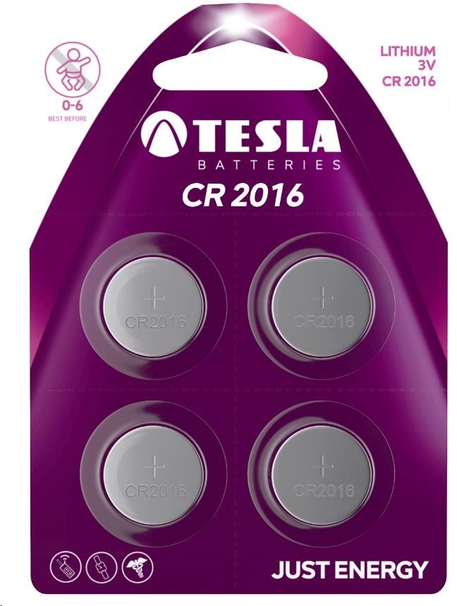 Tesla - CR 2016 Lithium, CR2016, BLISTER/4ks