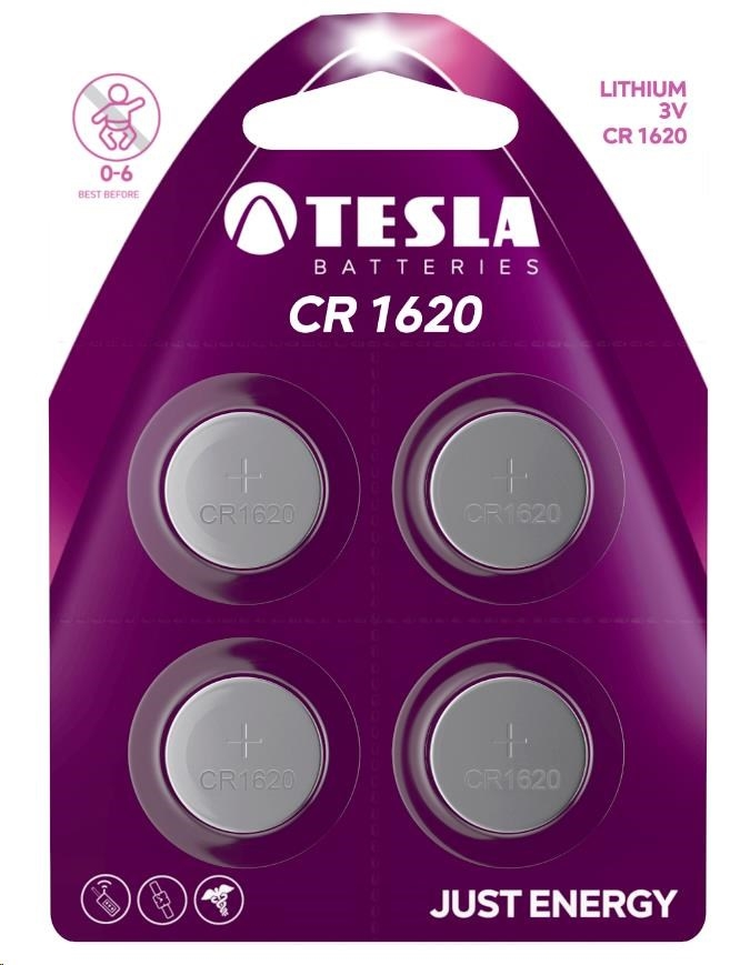 Tesla - CR 1620 Lithium, CR1620, BLISTER/4ks
