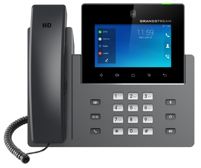 "Grandstream - IP video telefon, Android,  5"" LCD, 16x SIP účtů, 2x RJ45, USB, WIFI, Bluetooth, PoE"