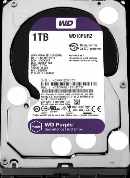 WD - harddisk PURPLE WD10PURZ 1TB SATA/600 64MB cache, Low Noise