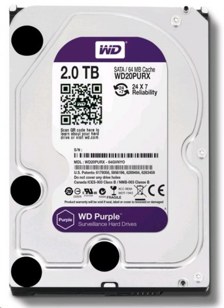 WD - harddisk PURPLE WD20PURZ 2TB SATA/600 64MB cache, Low Noise
