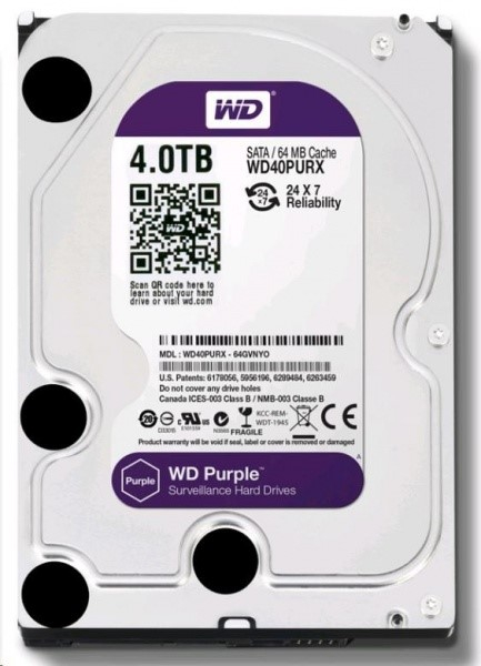 WD - harddisk PURPLE WD40PURZ 4TB SATA/600 64MB cache, Low Noise