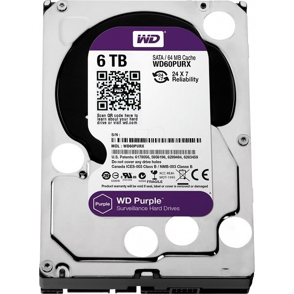 WD - harddisk PURPLE WD60PURZ 6TB SATA/600 64MB cache, Low Noise